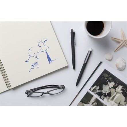 X3 zwart soft touch pen, transparant